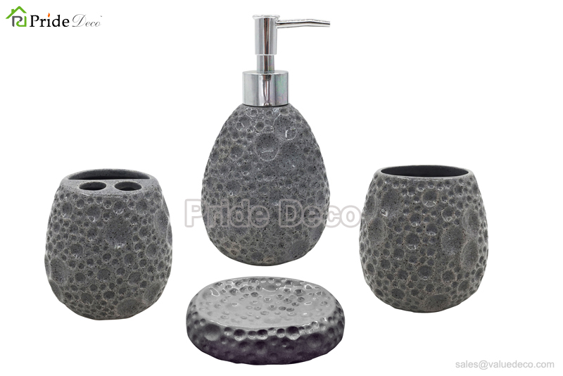 BAST0116 (Stone Design Ceramic Bathroom Accessory Set)