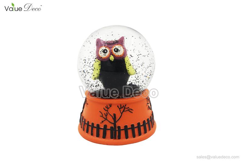 hdwg0033 resin halloween owl water globe dome